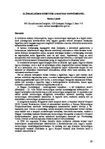 ELŐREJELZÉSEK KÉSZÍTÉSE A MAGYAR HONVÉDSÉGNÉL. Kovács László
