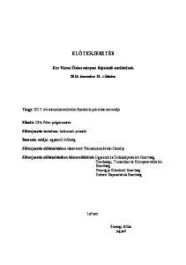 ELŐTERJESZTÉS. Zirc Városi Önkormányzat Képviselő-testületének december 15.-i ülésére