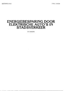ENERGIEBESPARING DOOR ELEKTRISCHE AUTO S IN STADSVERKEER G.F. BAKEMA