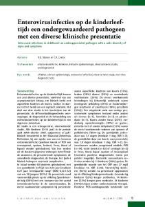 Enterovirusinfecties op de kinderleeftijd: een ondergewaardeerd pathogeen met een diverse klinische presentatie