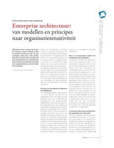 Enterprise architectuur: van modellen en principes naar organisatiesensitiviteit