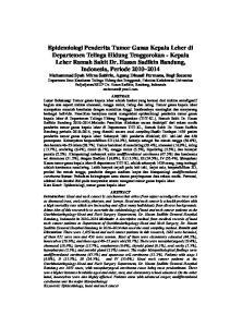 Epidemiologi Penderita Tumor Ganas Kepala Leher di Departemen Telinga Hidung Tenggorokan - Kepala Leher Rumah Sakit Dr. Hasan Sadikin Bandung,