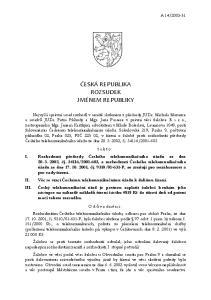 ČESKÁ REPUBLIKA ROZSUDEK JMÉNEM REPUBLIKY