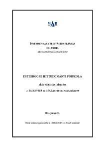 ESZTERGOMI HITTUDOMÁNYI FŐISKOLA. akkreditációs jelentése