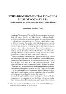 ETIKA BISNIS KOMUNITAS TIONGHOA MUSLIM YOGYAKARTA (Kajian atas Etos Kerja Konfusianisme dalam Perspektif Islam)