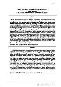 Etika Dan Etiket Profesi Sekretaris Profesional Ernita Siambaton