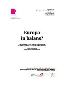 Europa in balans? Didactisch pakket over het sociaal en economisch beleid van de Europese Unie voor hogescholen in West-Vlaanderen