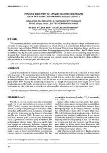 EVALUASI INDIKATOR TOLERANSI CEKAMAN KEKERINGAN PADA FASE PERKECAMBAHAN PADI (Oryza sativa L.)