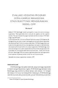 EVALUASI KEGIATAN PROGRAM INTRA KAMPUS MAHASISWA STAIN BUKITTINGI MENGGUNAKAN MODEL CIPP