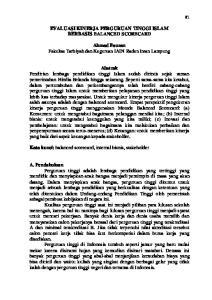 EVALUASI KINERJA PERGURUAN TINGGI ISLAM BERBASIS BALANCED SCORECARD. Ahmad Fauzan Fakultas Tarbiyah dan Keguruan IAIN Raden Intan Lampung