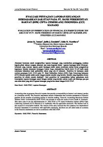 EVALUASI PENYAJIAN LAPORAN KEUANGAN BERDASARKAN SAK-ETAP PADA PT. BANK PERKREDITAN RAKYAT (BPR) CIPTA CEMERLANG INDONESIA (CCI) MANADO