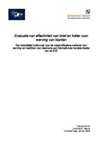 Evaluatie van effectiviteit van brief en folder voor werving van klanten