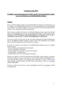 Evaluatieverslag 2015: Evaluatie van de toepassing door de JEP van het Convenant inzake reclame voor en marketing van alcoholhoudende dranken