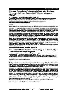 Evaluation of Work Performance Two Types of Community TB Workers in Gianyar Regency