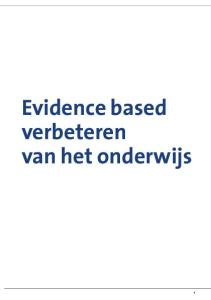 Evidence based verbeteren van het onderwijs