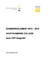 EXAMENREGLEMENT VAVO RIJNMOND COLLEGE. havo-top Hoogvliet