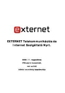 EXTERNET Telekommunikációs és Internet Szolgáltató Nyrt
