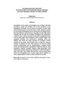 FACTORS AFFECTING THE LEVEL OF HEMOGLOBIN ON JUNIOR HIGH SCHOOL CHILDREN ON COAST REGIONAL DISTRICT OF NORT LOMBOK