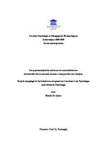 Faculteit Psychologie en Pedagogische Wetenschappen Academiejaar Eerste examenperiode