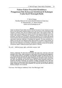 Faktor-Faktor Penyebab Rendahnya Penggunaan Hak Kekayaan Intelektual di Kalangan Usaha Kecil Menengah Batik