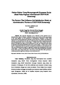 Faktor-Faktor Yang Mempengaruhi Kepuasan Kerja (Studi Pada Pegawai Administratif IKIP PGRI Semarang)