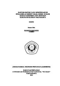 FAKTOR-FAKTOR YANG MEMPENGARUHI PENGAMBILAN KREDIT USAHA MIKRO DI BANK RAKYAT INDONESIA UNIT MOYUDAN KABUPATEN SLEMAN YOGYAKARTA