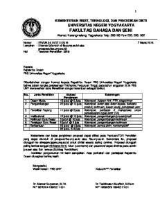FAKULTAS BAHASA DAN SENI Alamat: Karangmalang, Yagyakarta Telp Psw 255, 236, 362