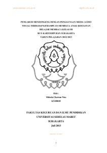 FAKULTAS KEGURUAN DAN ILMU PENDIDIKAN UNIVERSITAS SEBELAS MARET SURAKARTA Juli 2013
