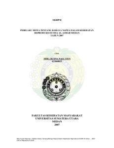 FAKULTAS KESEHATAN MASYARAKAT UNIVERSITAS SUMATERA UTARA MEDAN 2007