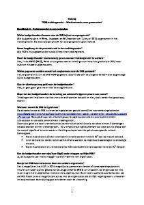 FAQ bij PGB trekkingsrecht Werkinstructie voor gemeenten