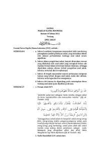 FATWA MAJELIS ULAMA INDONESIA Nomor: 8 Tahun 2011 Tentang AMIL ZAKAT