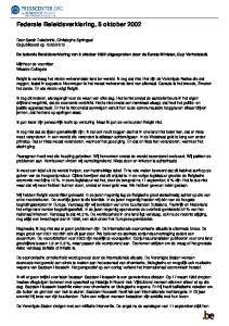 Federale Beleidsverklaring, 8 oktober 2002