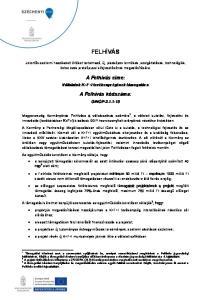 FELHÍVÁS. A Felhívás címe: Vállalatok K+F+I tevékenységének támogatása. A Felhívás kódszáma: GINOP