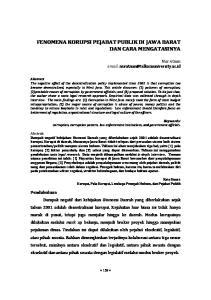 FENOMENA KORUPSI PEJABAT PUBLIK DI JAWA BARAT DAN CARA MENGATASINYA