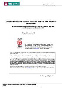 FHB Tanácsadói Számlacsomaghoz kapcsolódó költségek, díjak, jutalékok és kamatmértékek