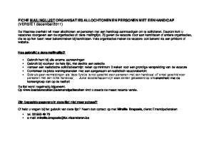 FICHE MAILINGLIJST ORGANISATIES ALLOCHTONEN EN PERSONEN MET EEN HANDICAP (VERSIE 1 december 2011)
