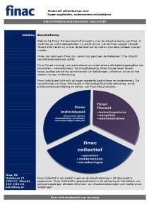 Financieel adviesbureau voor hoger opgeleiden, ondernemers en bedrijven DIENSTVERLENINGSDOCUMENT COLLECTIEF