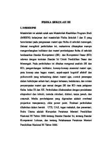 FISIKA SEKOLAH III I. DESKRIPSI