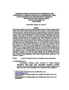 Fitria Mulia 1, Hamizi 2, H. Lazim N 3. : Cooperative Integrated Reading And Composition, reading Comprehension