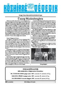 FOGADÓNAPOK 2009 októberében a Polgármesteri Hivatalban: Dorog Város Képviselõ-testületének lapja KÖZHÍRRÉ TÉTETIK