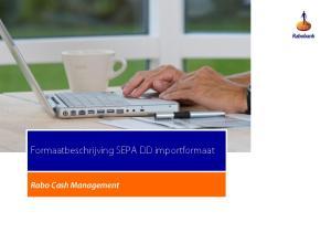 Formaatbeschrijving SEPA DD importformaat. Rabo Cash Management