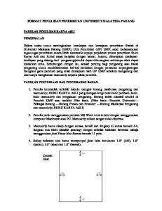 FORMAT PENULISAN PENERBITAN UNIVERSITI MALAYSIA PAHANG