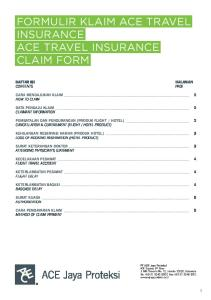 FORMULIR KLAIM ACE TRAVEL INSURANCE ACE TRAVEL INSURANCE CLAIM FORM
