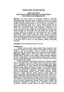Frasa Verbal Bahasa Madura Iqbal Nurul Azhar Dosen Sastra Inggris