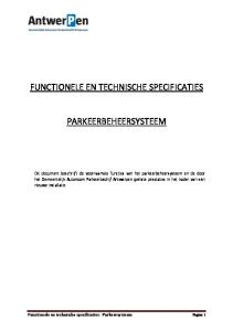 FUNCTIONELE EN TECHNISCHE SPECIFICATIES PARKEERBEHEERSYSTEEM
