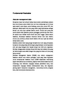 Fundamental Basisdata Data dan management data