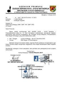 G E R A K A N P R A M U K A GUGUS DEPAN NATADIRJA SMA NEGERI 10 KOTA BENGKULU Jl. Padang Cengkeh Kel. Sukarami Kec. Selebar Kota Bengkulu