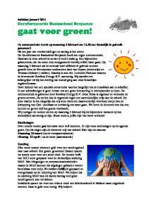 gaat voor groen! Infoblad januari 2014 Gereformeerde Basisschool Benjamin