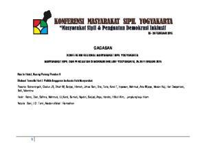 GAGASAN KONFERENSI REGIONAL MASYARAKAT SIPIL YOGYAKARTA: MASYARAKAT SIPIL DAN PENGUATAN DEMOKRASI INKLUSIF YOGYAKARTA, FEBRUARI 2015