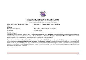GARIS BESAR PROGRAM PENGAJARAN (GBPP) JURUSAN AKUNTANSI - PROGRAM STUDI S1 AKUNTANSI FAKUTAS EKONOMI UNIVERSITAS GUNADARMA